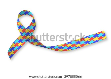 World Autism awareness day WAAD, April 2: Colorful Puzzle fabric ribbon logo isolated clipping path on white background raising public support campaign on people's life living w/ mental health illness - stock photo