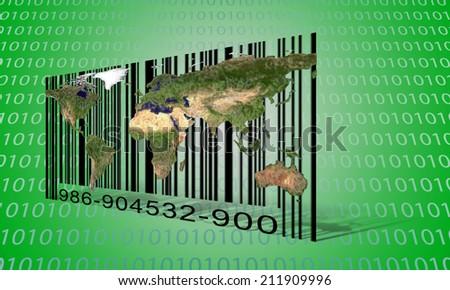 World Binary Bar code - stock photo