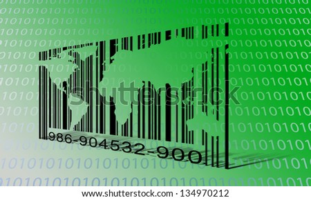 World Binary Barcode - stock photo