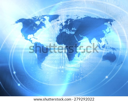 World Business Background in the blue color