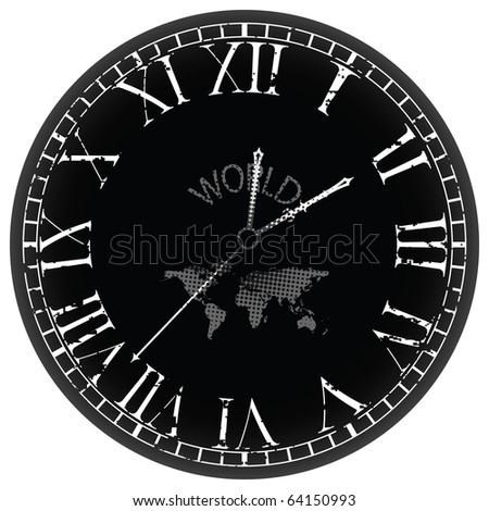 world clock against white background, abstract art illustration; for vector format please visit my gallery