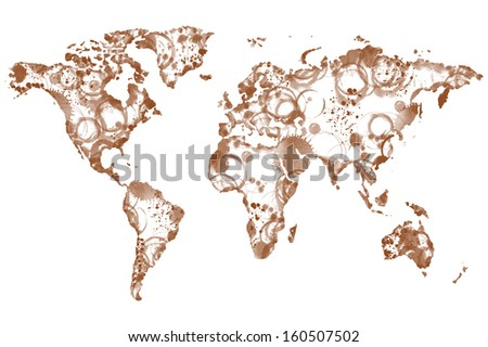 World coffee map made from coffee spot - stock photo