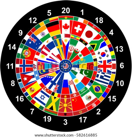 World Countries Flags Darts Board Game Stock Illustration - Countries of the world game