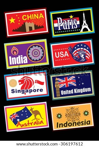 World country travel label set - stock photo