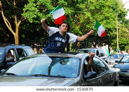 World cup final celebrations - Montreal - stock photo