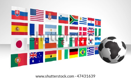 World cup 2010 South Africa theme with the national flags of participating countries on the background. The soccer ball has an image of the African continent on it. - stock photo