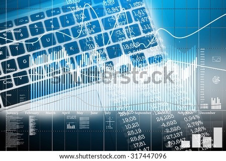 World economics. Finance concept with keyboard computer and stock market statistics - stock photo