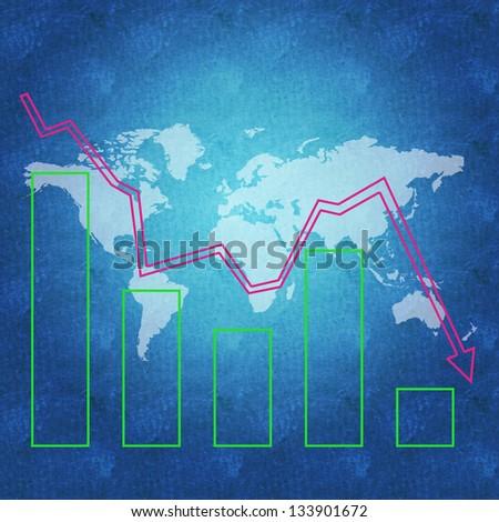 World economy in decline - stock photo