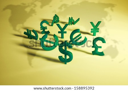 World economy map with green international icon on yellow background - stock photo