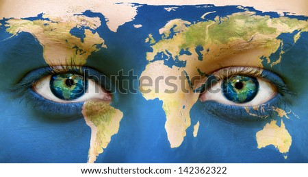 """World face - Elements of this image furnished by NASA"""" - stock photo"""