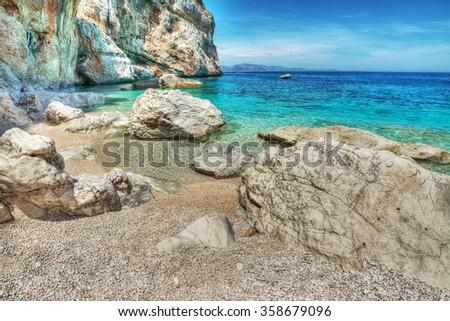 World famous Cala Mariolu in Sardinia, Italy - stock photo