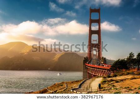 World Famous Golden Gate Bridge at sunset - stock photo