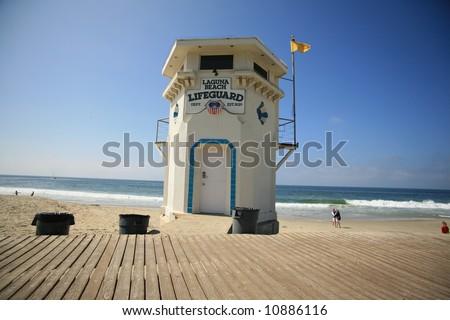 "world famous ""laguna beach"" life guard station - stock photo"