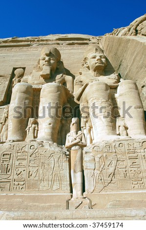 World famous statue of Ramses II at abu simbel Egypt - stock photo
