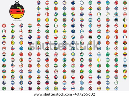 World Flag Illustrations in the shape of a Stopwatch