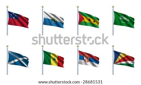 World Flag Set 20 - Samoa, San Marino, Sao Tome and Principe, Saudi Arabia, Scotland, Senegal, Serbia, Seychelles - stock photo