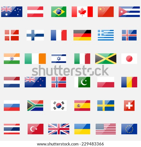 World flags collection. 36 detailed glossy icons. Correct proportions and color scheme. - stock photo