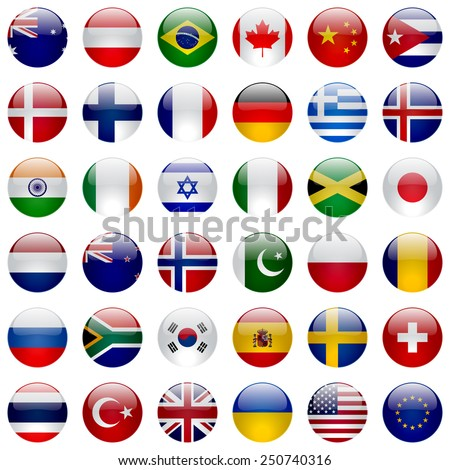 World flags collection. 36 high quality round glossy icons. Correct color scheme.