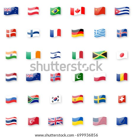 World flags icon set. Shiny glossy small waving flag icons with correct proportions and colors.