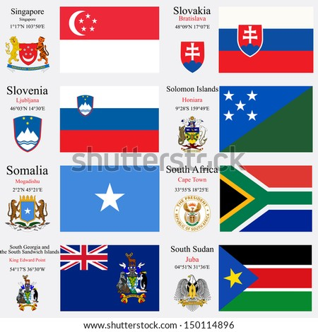 world flags of Singapore, Slovakia, Slovenia, Solomon Islands, Somalia, South Africa, South Georgia and the South Sandwich Islands and South Sudan, with capitals and coat of arms, art illustration