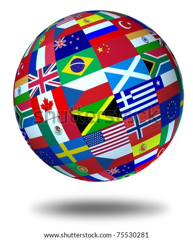 World flags sphere floating and isolated as a symbol representing international global cooperation in the world of business and political affaires. - stock photo