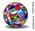 World flags sphere symbol representing international global cooperation in the world of business and political affaires. - stock photo