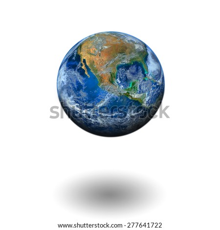 world floating on white background, including elements furnished by NASA  - stock photo