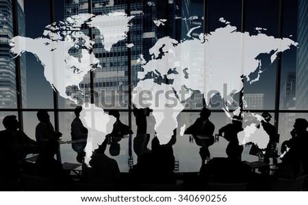 World Global Cartography Globalization Earth International Concept - stock photo