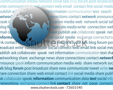 World globe and SOCIAL MEDIA network connection words on a page of text background