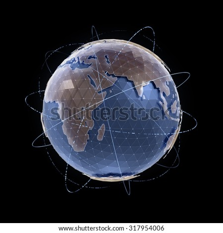 World Globe. CG model of a globe for infographic/presentation. 3D-rendered graphics. - stock photo