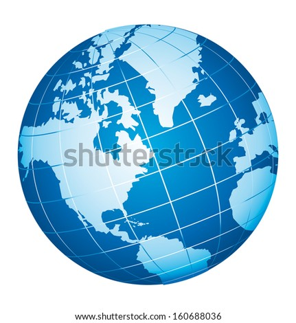 World globe icon. American view. - stock photo