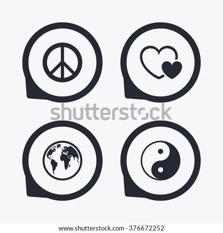 World Globe Icon Ying Yang Sign Stock Illustration 376672252