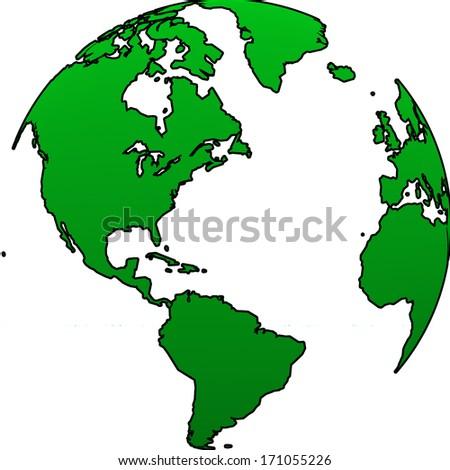 World globe illustration on a white background - stock photo