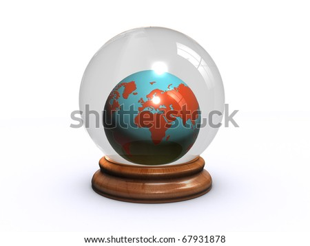 world globe in a glass ball