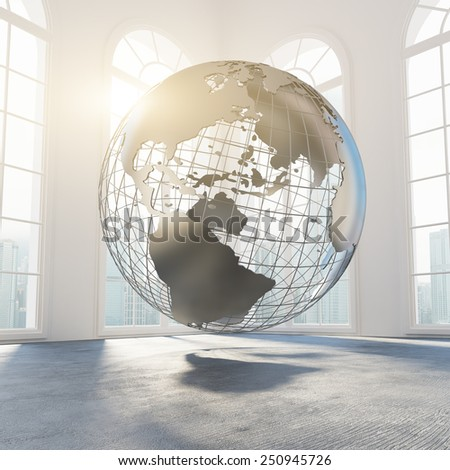 World globe in empty office concept. 3d rendering - stock photo