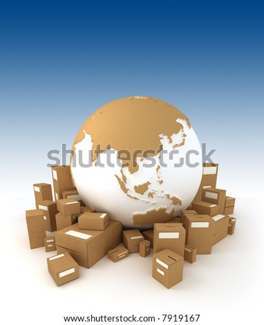 World globe in white and carboard texture, surrounded by packages and oriented to Asia