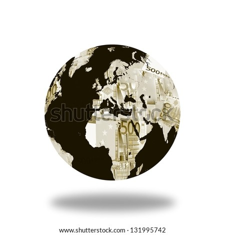 World globe map made with euro. Derived from NASA image. - stock photo