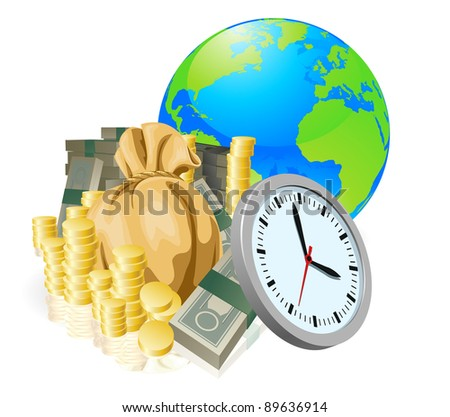 World globe money time business concept. Time is money, international business concept. - stock photo