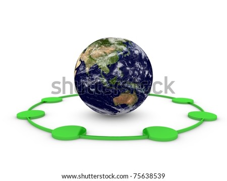 world globe network - stock photo