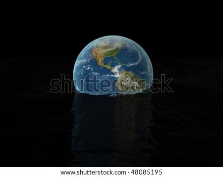 world globe on water - stock photo