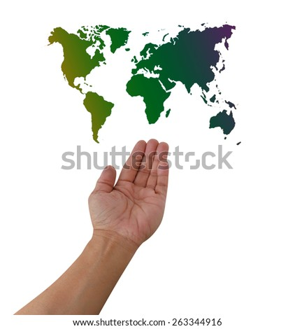 world globe over hand action design element isolated on white with path - stock photo