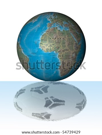 World globe reflecting in the water in form of a football