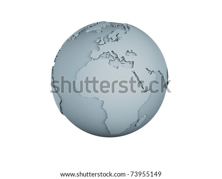 World globe wire frame model isolated