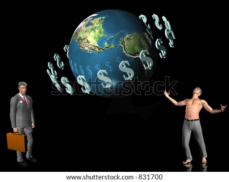 World globe with circulating dollar signs around. 3D illustration for background or wallpaper purpose. Opposites in business, successful businessman and failing businessman, bankrupt. Copy space. - stock photo