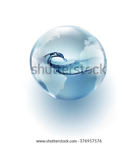 world globe with clean water inside on a white background - stock photo