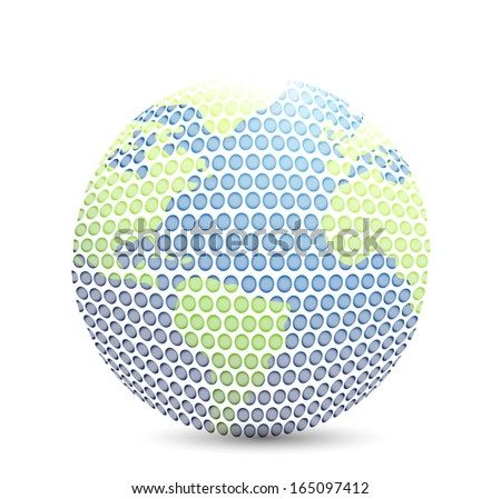 world golf map ball isolated over white - stock photo