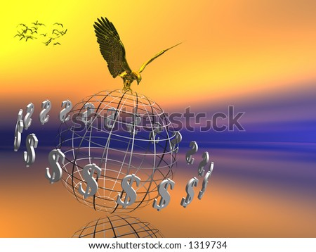 World grid with circulating dollars, symbol of wealth, eagle on top, financial concept, copy space. - stock photo
