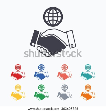 World handshake sign icon. Amicable agreement. Successful business with globe symbol. Colored flat icons on white background. - stock photo