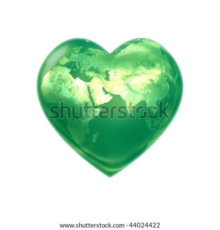 World heart green eurasia - stock photo