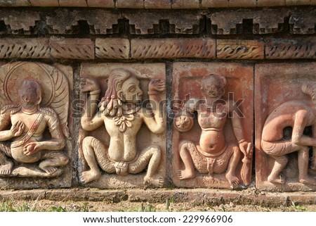 World heritage, God of the Ruins of the Buddhist Vihara at Paharpur people, Bangladesh - stock photo